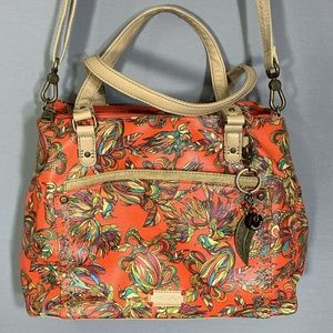 Sakroots Vinyl 5 Section Purse Vibrant Floral Bird